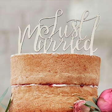 """Cake Topper """"Just Married"""" aus Holz"""