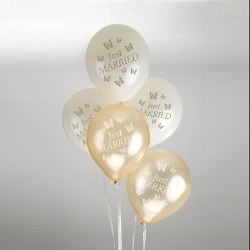"""Rundballons """"Just Married"""" in Creme-Gold"""