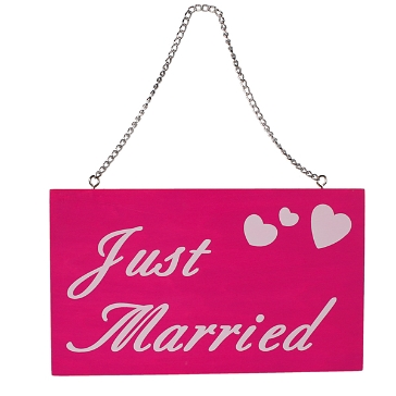 Holzschild-justmarried-pink