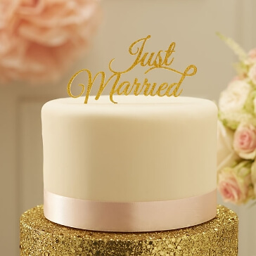 "Tortendeko zur Hochzeit ""Just Married"" in Gold"