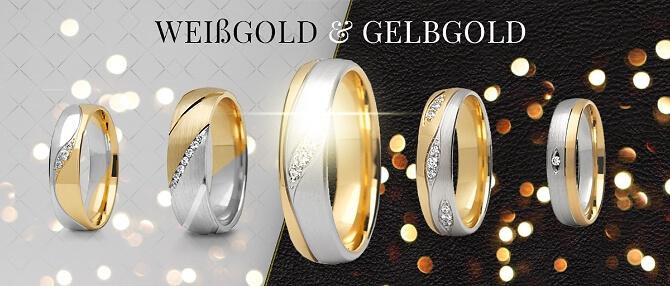 Eheringe in Gold und Silber