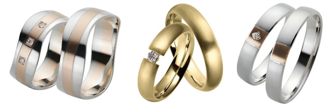 Eheringe in Gold, Silber und Roségold