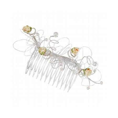 Braut-Accessoire weddix Gesteck mit Kamm, elfenbein/silber