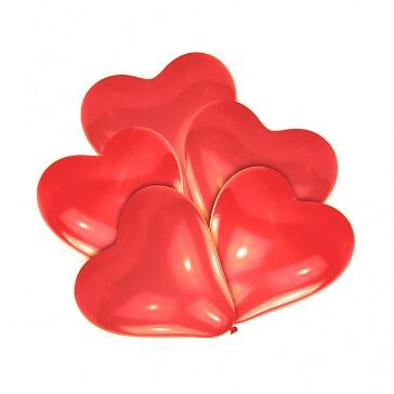 10 rote Herzballons, klein