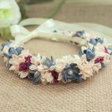 Brautschmuck Haarkranz Taubenblau-Rose
