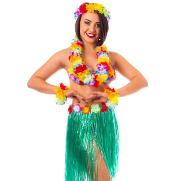 Hawaiiketten-Set mit Rock, 5tlg.