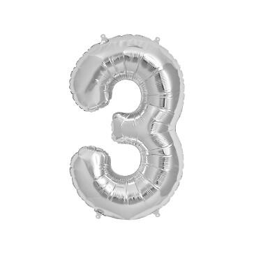 Folienballon Zahl 3, silber