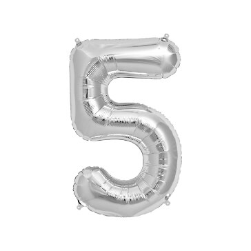 Folienballon Zahl 5, silber