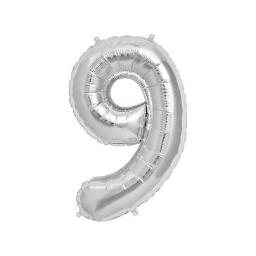"""Folienballon Zahl """"9"""", silber"""