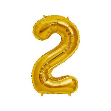 Folienballon Zahl 2, gold