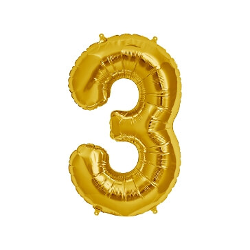 Folienballon Zahl 3, gold
