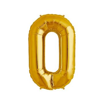 Folienballon Zahl 0, gold