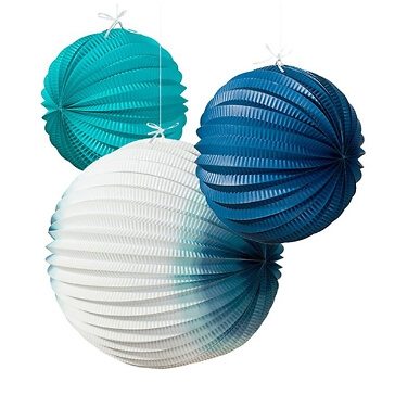 Lampions Meeresbriese, blau-weiß