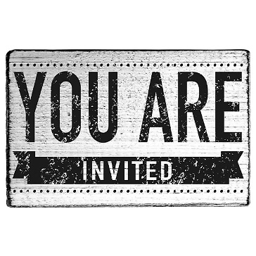 vintage stempel you are invited banner