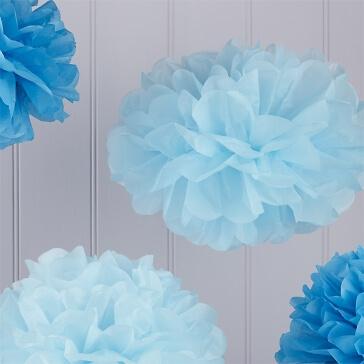 PomPoms Fluffy in verschiedenen Blautönen