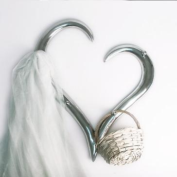 Hochzeitsgeschenk Garderobe Herz silber