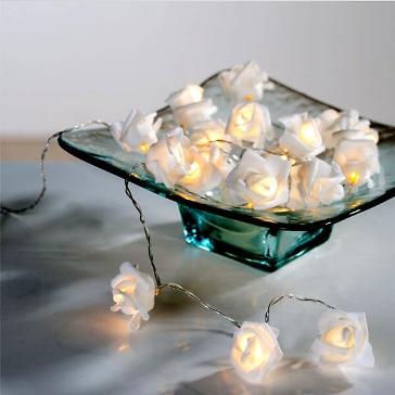 Lichterkette weiss Rosen