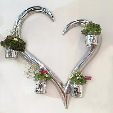 Wanddekoset Herz mit Vasen