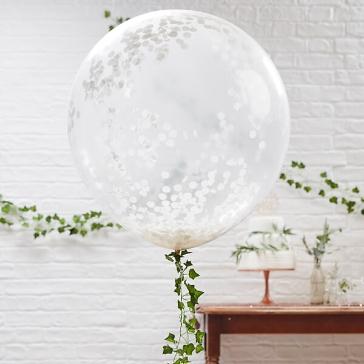 xxl luftballons mit weissem konfetti