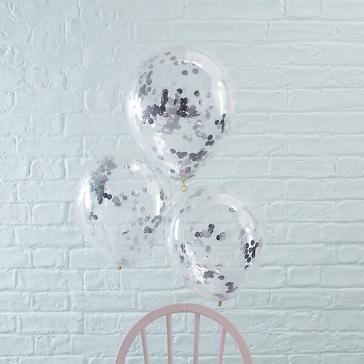 ballons mit konfetti silber