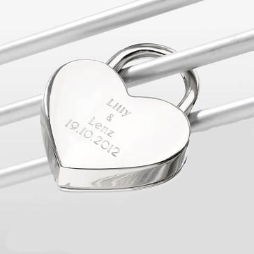 Liebesschloss Herz inkl. Gravur, silber, klein