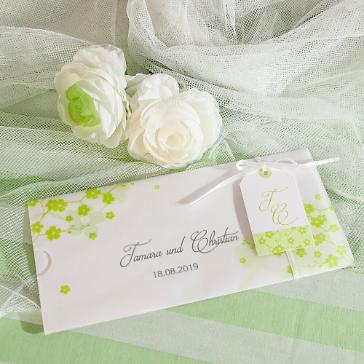 Hochzeitseinladung Tamara weiß-grün