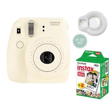 Instax Mini 8, weiß, inkl. Filme und Selfie Linse