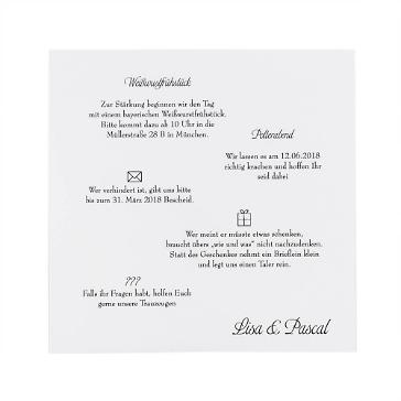 Einleger Hochzeitskarten Creme 14,8 x 14,8 cm