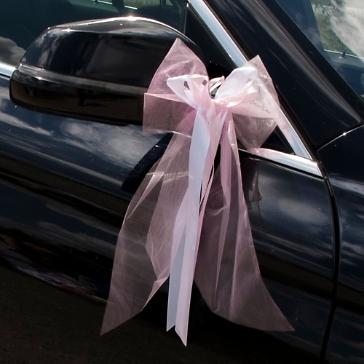 Autoschleife Tüll rosa