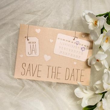 save the date Hochzeit Kraftpapier