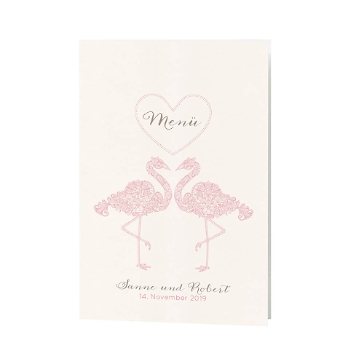 Menükarte Tianna mit rosanen Flamingos
