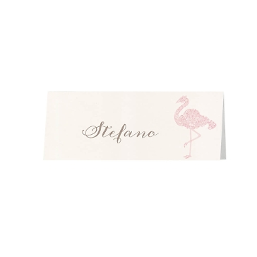 Tischkarte Tianna mit Flamingo im Flockdruck