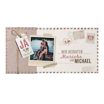 Hochzeitseinladung Susi in Postkartenoptik