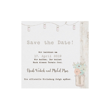 Save-the-Date-Karte oder Dankeskarte Lilly Vintage Look