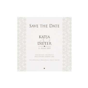 Save-the-Date-Karte oder Dankeskarte Raphaela, creme
