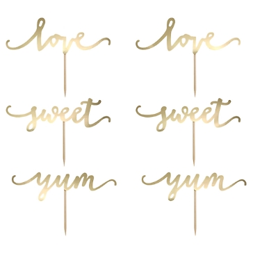 Cupcake Topper Sweet Love in Gold