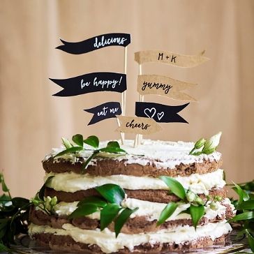 Cupcake / Cake Topper Flaggen Kraftpapier