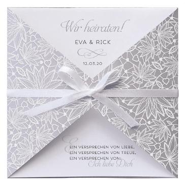 Einladungskarte Hochzeit Carmen Silber mit Schleife