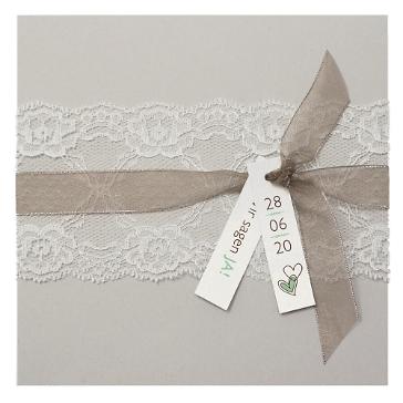 Einladungskarte Hochzeit Sina mit Spitze