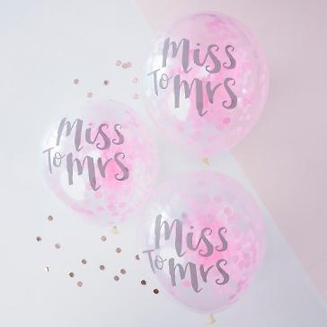 Ballons mit Konfetti Miss to Mrs, pink