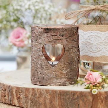 Rustikales Windlicht Herz aus Holz