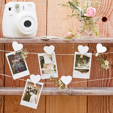 Fotoleine Hochzeit mit Herz Clips