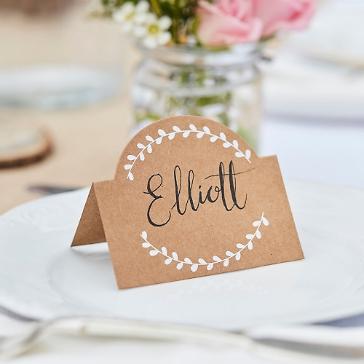 Tischkarten Hochzeit Kraftpapier