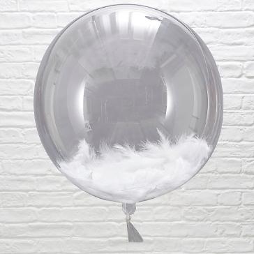 Ballons mit Federn, weiß