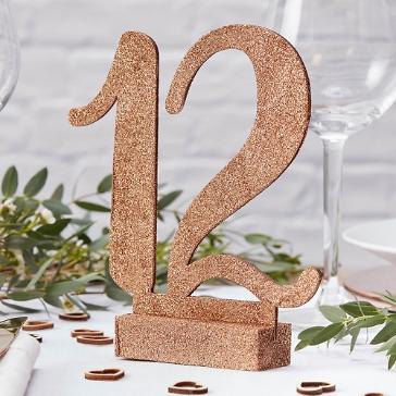 Tischnummern Hochzeit Holz, Roségold mit Glitzer