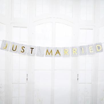 Autodeko Girlande Marmor Just Married
