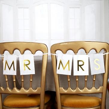 Stuhlschilder Mr & Mrs, Marmor