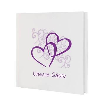 Gästebuch Hochzeit Herzen, lila
