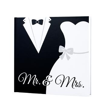 Gästebuch Hochzeit Black & White, Mr & Mrs, mit Brautpaar, quadratisch