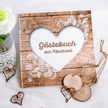 Gästebuch Hochzeit Herzenssache in Holzoptik